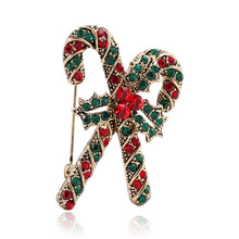 CINDY XIANG Cute Rhinestone Crutch Brooches For Women Creativity New Years Clothing Accessories Christmas Gift Pins Jewelry