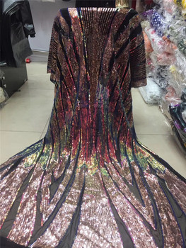 top quality H-1970410 shinny sequins  french lace fabric african lace fabric with embroidery mesh tulle fabric