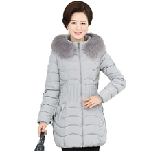 Woman Fur Hooded Quilted Puffer Jackets Gray Red Black Green Blue Parka Middle Aged Women Winter Long Basic Wadded Coat Mother