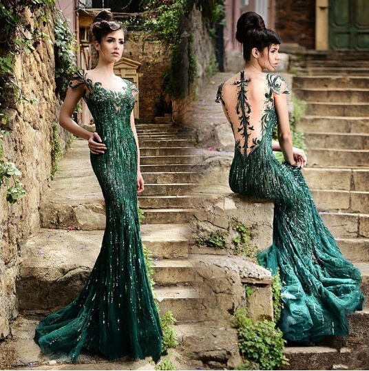 Vintage Stunning Evening Dresses With Sheer Neck Green