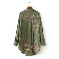 Women Elegant Fashion Rose Floral Print Embroidery Blouse Long Sleeve Turn Down Collar Shirt Sexy Women