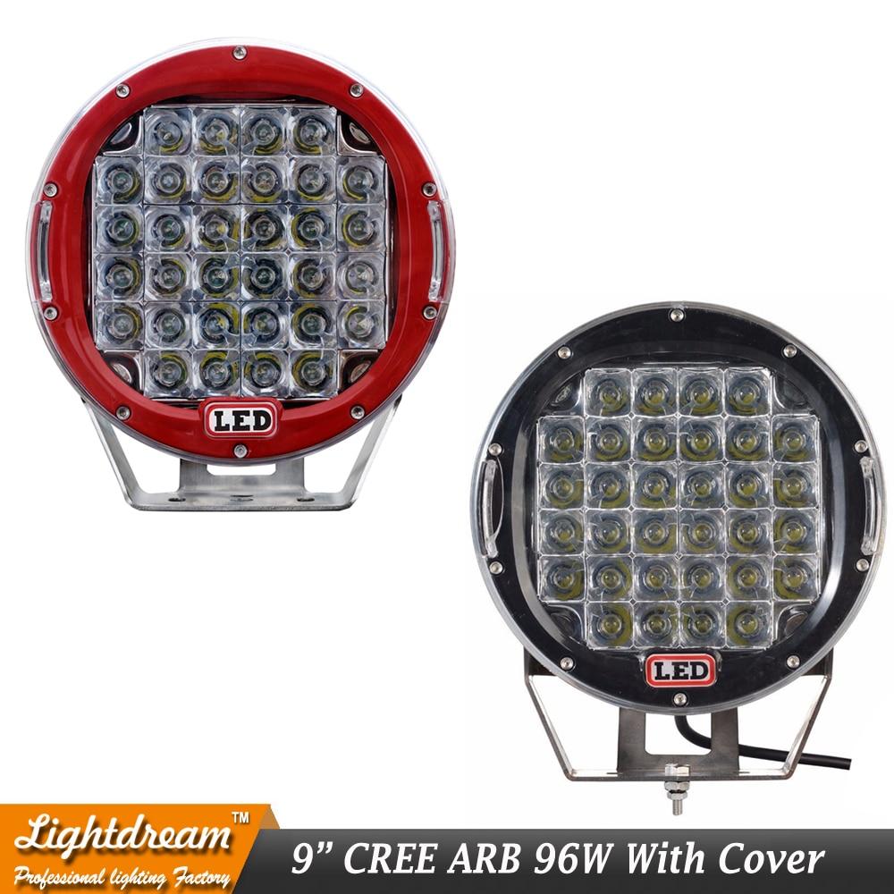Круглый 96 Вт 9 светодио дный 32 LED светодио дный s светодиодный рабочий свет черный красный 12 В в В 24 В автомобиль Off road 4WD светодио дный 4x4 Свето...