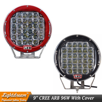Round 96W 9 32leds Led Work Light Black Red 12V 24V car Off road 4WD 4x4 Led Spotlight Round Led Driving Lights With Cover x1pc