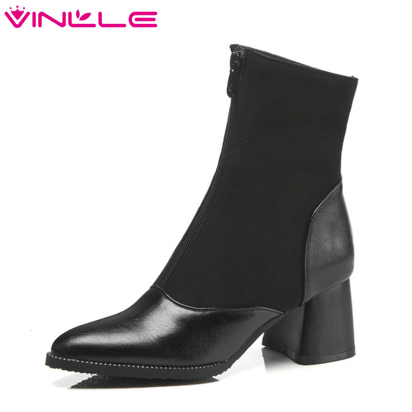 VINLLE 2019 Women Ankle Boots PU Leather Women Shoes