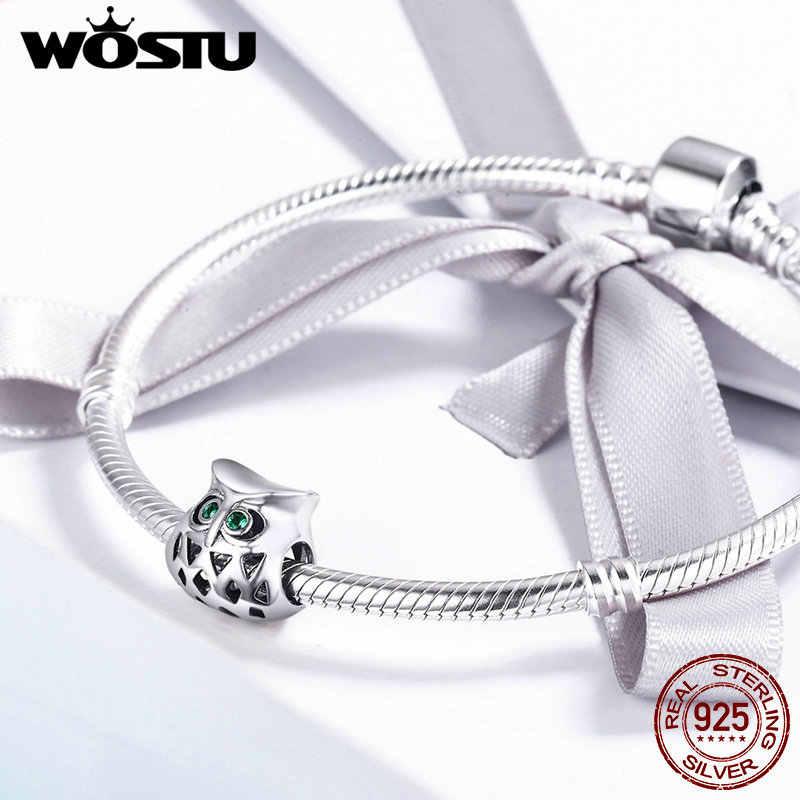 WOSTU Brand New 925 Sterling Silver Bello Del Gufo Openwork Animale misura Branelli originale WST Braccialetto di Fascino Dei Monili CQC424