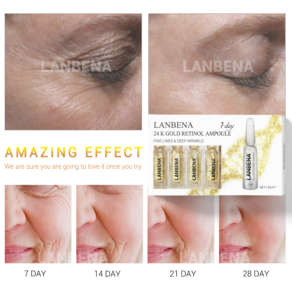 Lanbena 24k Gold Retinol Ampoule Serum Hyaluronic Acid Q10 vitamin C ceramide Anti-aging Wrinkle Firming Moisturizer For 7 Days