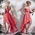 Encantador Coral Colored Chiffon Backless Da Dama de Honra Vestidos de 2016 Querida Rucehd Custom Made Vestidos de Festa de Casamento No Preço Barato