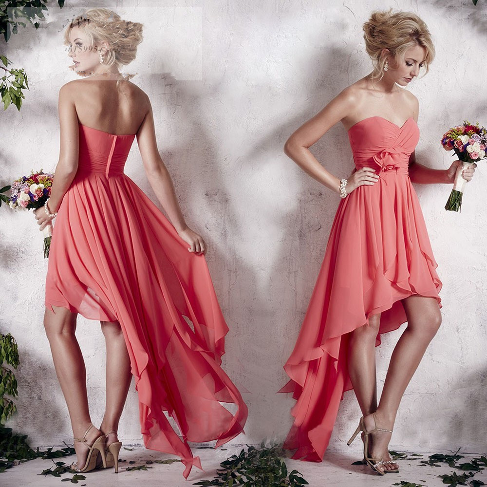 Lovely Coral Colored Chiffon Backless Bridesmaid Dresses