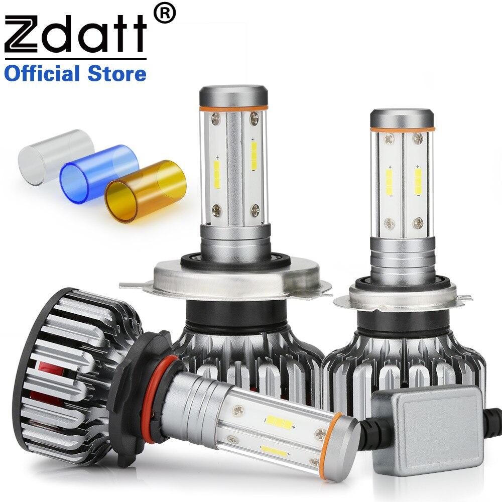 Zdatt h7 conduziu o bulbo h4 do diodo emissor de luz de canbus h11 4 lados csp chip 12000lm 100 w farol h8 9005 hb3 9006 3000 k 6000 k 8000 k luzes do carro 12-24 v
