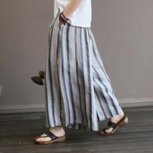 Mujeres Retro Lino rayas cintura elástica Pantalón ancho Pantalones anchos  de la pierna de la vendimia raya femenina pantalones . 03cf21b8e442