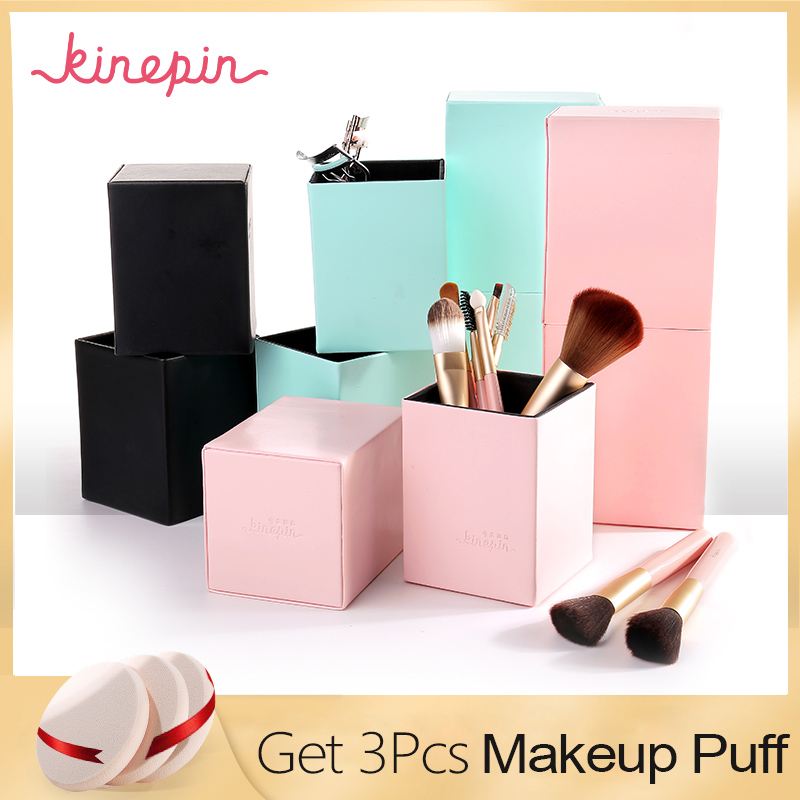 KINEPIN Makeupborstar Hållare Magnetic Make Up Penselhållare Kosmetisk Tool Organizer Tom Portable PU Leather Container