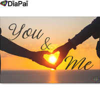 """DIAPAI 100% Full Square/Round Drill 5D DIY Diamond Painting """"Heart text sunset"""" Diamond Embroidery Cross Stitch 3D Decor A18533"""
