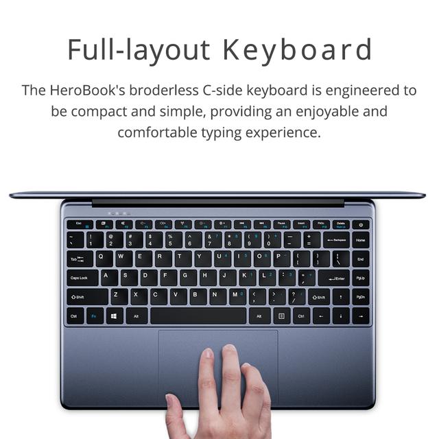 CHUWI HeroBook 14.1 Inch 1920*1080 Laptop Windows 10 Intel E8000 Quad Core 4GB RAM 64GB ROM Notebook with Full Layout Keyboard