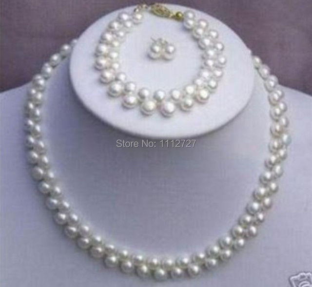 Beautiful 7 8mm New Fashion White S Pearl Necklace Bracelet Earring Beads Jewelry Set Natural