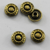 (1000pcs/pack) Customized electroplating copper metal Rivets with embossed logo brand name for jackets and jeans buttons