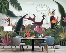 beibehang Custom wallpaper Nordic Hand Drawn Tropical Plants Elk Banana Leaf Classic TV Background wall papers home decor behang