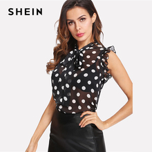 Tied Neck Bow Polka Dot Blouse