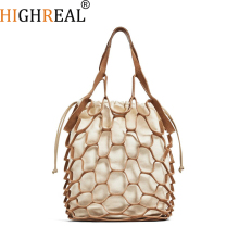Summer Beach Totes Bag Bright Paper Ropes Hollow Woven Bag Cotton Lining Straw Bag Female Reti culate Handbag Netted Beach Bag