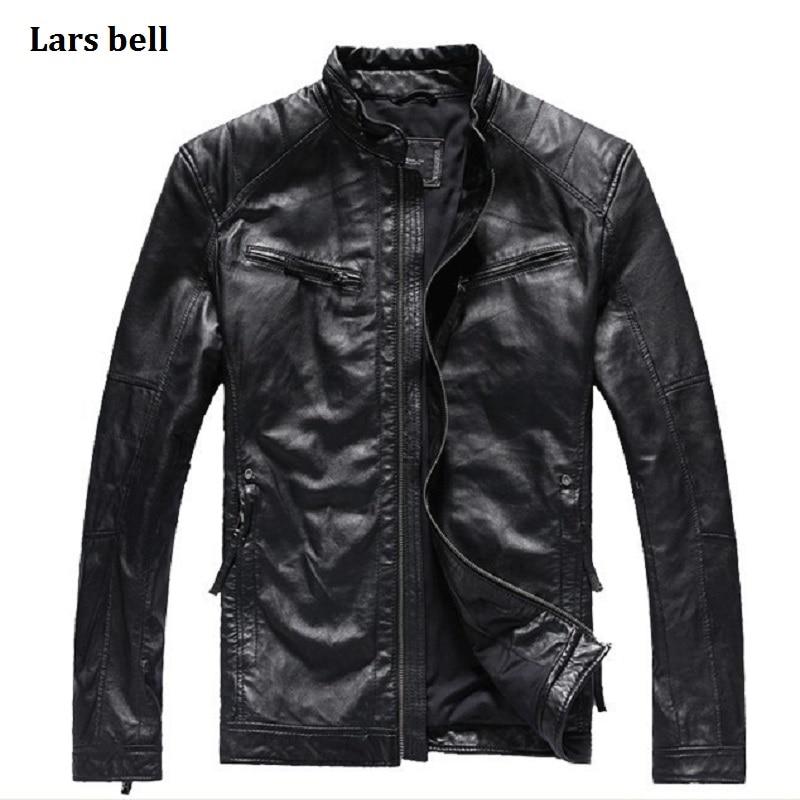 Lars Bell Brand New Men Genuine Leather Jackets Black Slim Simple Sheepskin Coat Natural Lambskin Biker Real Leather Jacket