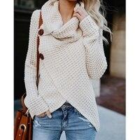 Winter Women Knit Sweater Buttons Loose Cardigan Coat Warm High Collar Irregular Sweater