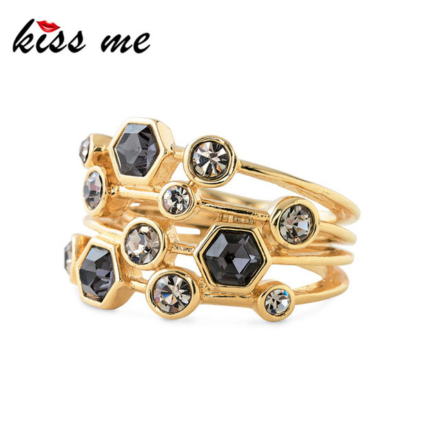 New Styles 2015 Fashion Jewelry Resin Plant Gold Color Ring Christmas Gifts