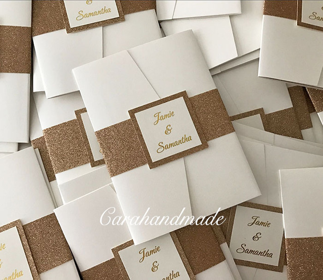 Glitter Pocketfold Wedding Invitations With Belly Band Ca0766