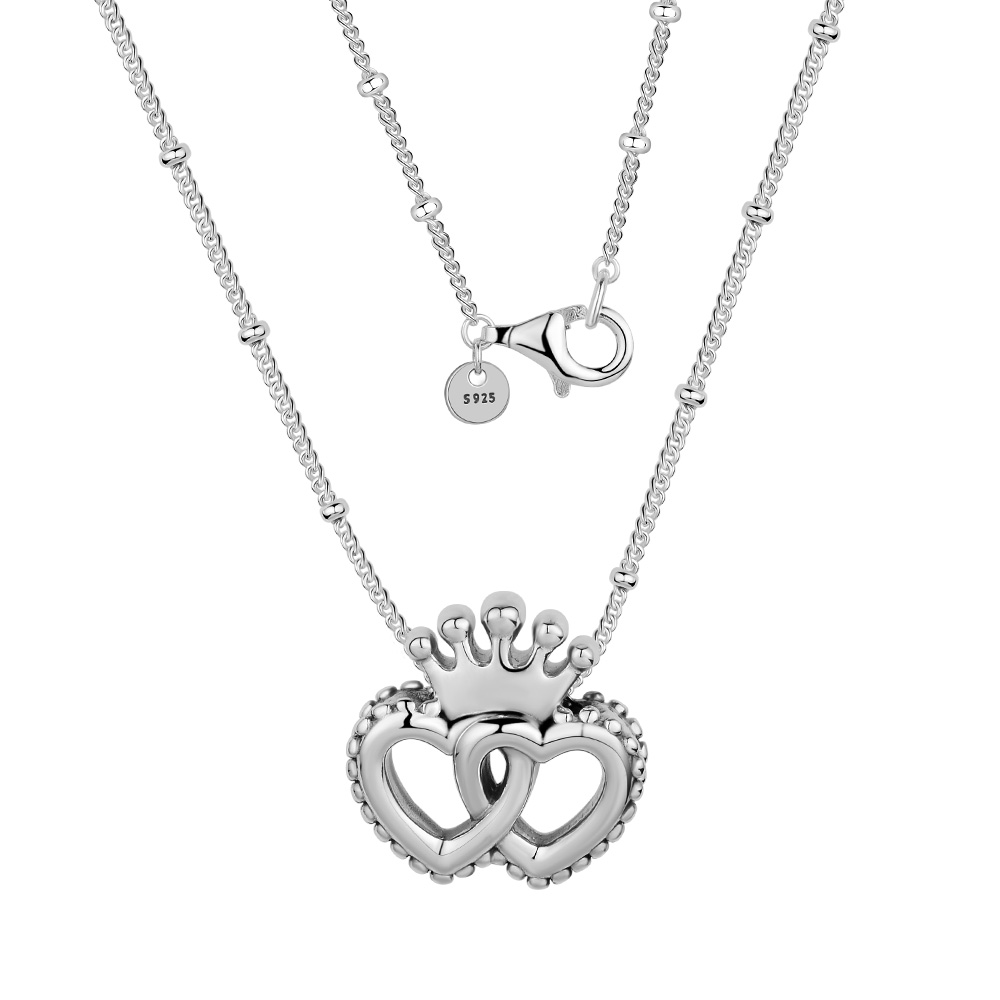 Necklaces & Pendants Silver United Regal Hearts Necklace DIY Sterling-Silver-Jewelry Silver 925 Original Pingente Necklaces & Pendants Silver United Regal Hearts Necklace DIY Sterling-Silver-Jewelry Silver 925 Original Pingente