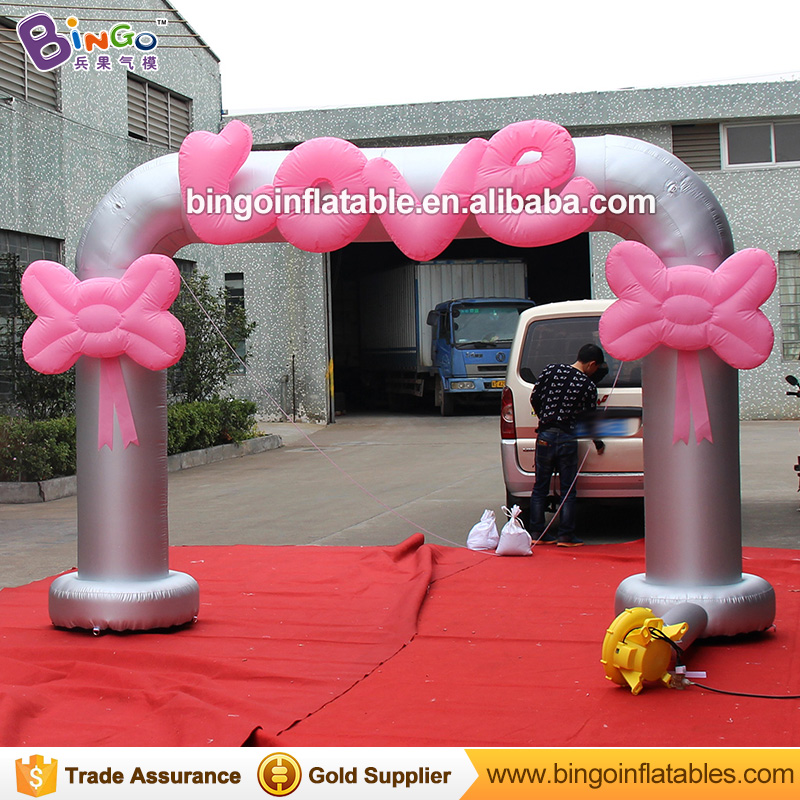 8 Feets Tall Lovely inflatable entrance wedding arch with pink love letters and pink bow for wedding valentine's day decoration