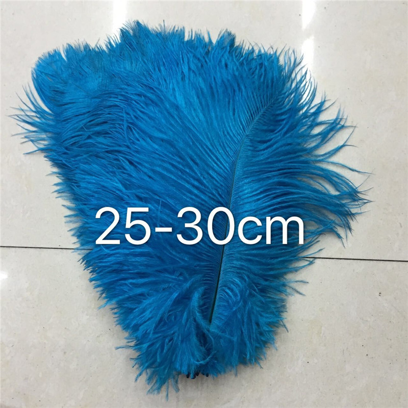 100 beautiful 10 to 12 inches (25 to 30 cm) ostrich hair dyed blue lake, used for decoration accessories hat head buckle