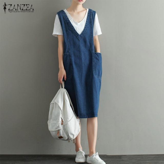22d24388bc ZANZEA Hot Sale Women 2018 V Neck Vintage Denim Dress Knee Length Sexy  Sleeveless Midi Dresses Casual Loose Plus Size Vestidos