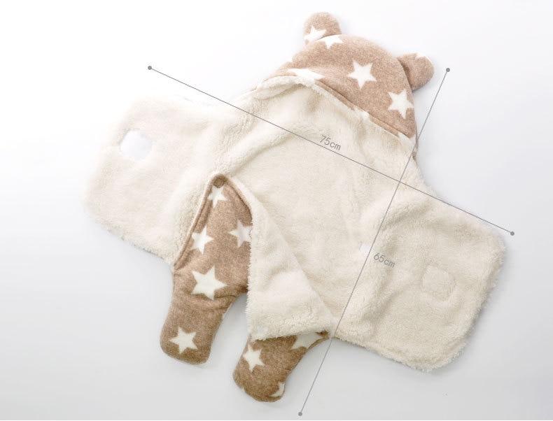 Newborn-Sleepsacks-Winter-for-Stroller-Heavy-Baby-Swaddle-Blanket-With-Star-White-Fleece-Baby-Sleeping-Bag-Bedding-Accessories-3