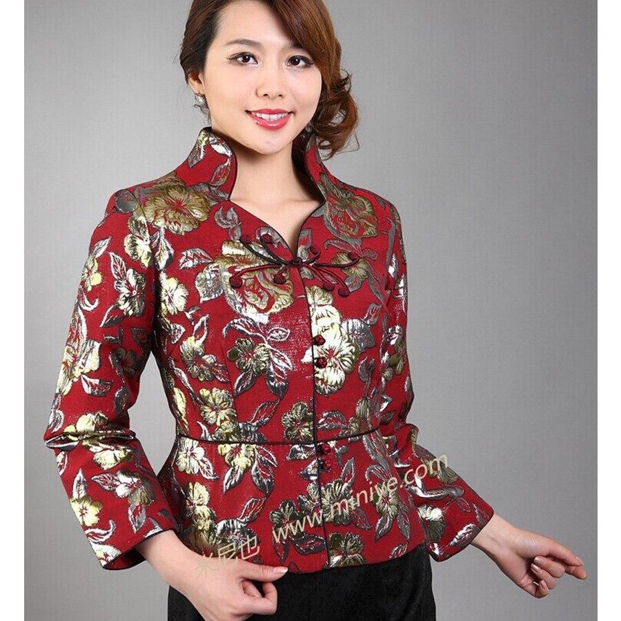Red vintage estilo chino de las mujeres de seda satinada capa de la chaqueta lar