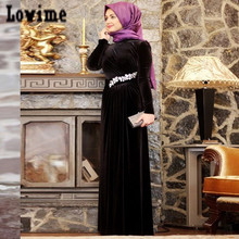 Robe De Soiree Courte Long Sleeves Muslim Evening Dresses with Crystal Ruched Velvet Kaftans Dubai Arabic Hijab Long Dress WH121