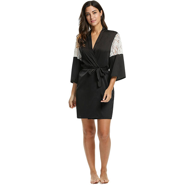 c9d50dd9d7ca1 Avidlove Women Sexy Robe Lace Patchwork 3/4 Sleeve Sleeping Robe Bathrobe  Lace up Tunic Nightgown Sleepwear with Belt Plus Size-in Robes from Women's  ...