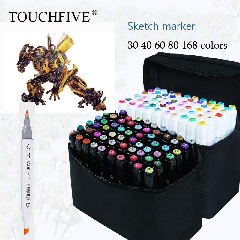 Touchfive 36/48/60/72 Colors Art Marker Set Oily Alcoholic Sketch Markers Double Headed For Animation Manga Draw touchfive marker 60 80 168 color alcoholic oily based ink marker set best for manga dual headed art sketch markers brush pen