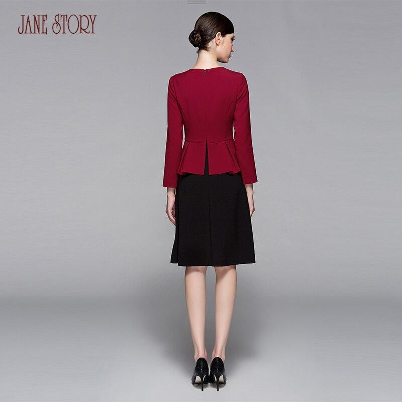 cou 2017 Doux Femmes Dress Seule Étape D'une Office Jane Story Patchwork Élégant Lady Solide Red Dark O C05 Automne Couleur Printemps Pièce Et qg8xtAaI