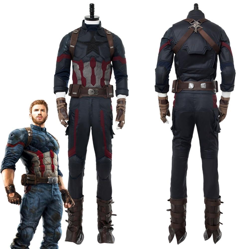Avengers 3 Infinity War Captain America Steven Rogers Cosplay Costume Uniform