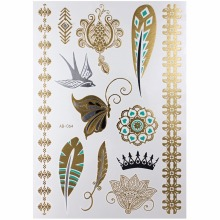 Design Flash Removable Waterproof Gold Tattoos Metallic Temporary Tattoo Stickers Temporary Body Art Tattoo