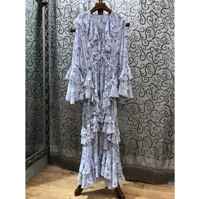 Imprimer Mode Designer Chic Flare Maxi Printemps Robe Bouton Qualité Partie Coquillage Longue 2019 Top Vêtements Manches Femmes SRvqvH