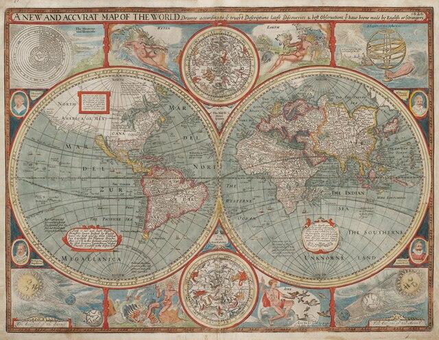 World map of 1626 vintage nostalgic wall hanging unframed canvas world map of 1626 vintage nostalgic wall hanging unframed canvas paintingsmaps for home gumiabroncs Choice Image
