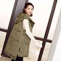 Winter Hooded Vest Women 2016 New Fashion Waistcoat Plus Size Pockets Zipper Slim Coats Coletes Femininos Outerwear