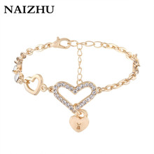 2017 Gold Color Chain Link Bracelet for Women Ladies Crystal Heart Jewelry Gift Girls Bracelets & Bangles