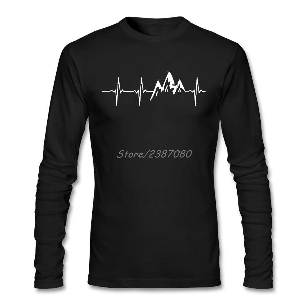 MOUNTAIN IN MY HEARTBEAT T Shirt Long Sleeve T Shirt Men Pp Car-styling O-neck Cotton Twin Peaks Clothes For Men