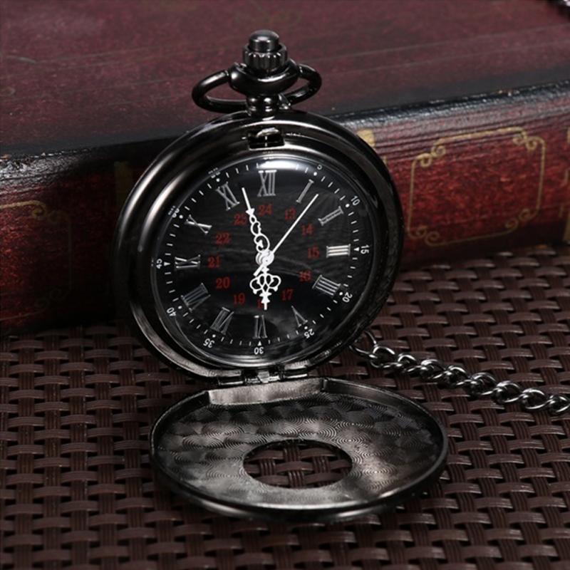 Unisex Vintage Pocket Watch Black Roman Retro Quartz Pocket Watch Roman Numerals Double Display Steampunk Fob Watch