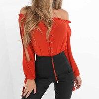 С открытыми плечами Шифоновая блузка рубашка Для женщин летние красные с длинным рукавом Разделение элегантные пикантные красивые блузки ...