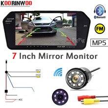 Koorinwoo Senza Fili di Parcheggio Kit 7 pollice FM Display 1024*600 Car Monitor Bluetooth MP5 USB/SD Slot Car videocamera vista posteriore di Retromarcia