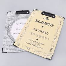 Retro A4 Paper Writing Clipboard Pad File Document Holder Folders Stationery Student Gift(China)