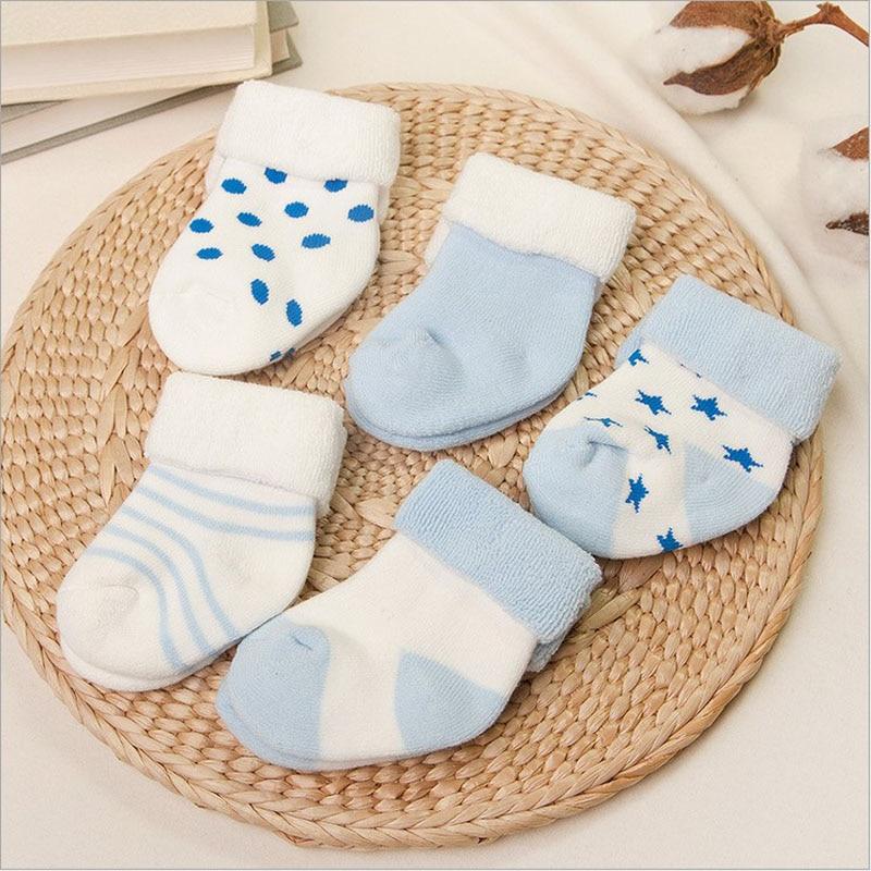 vivamom 5 זוגות תינוק גרביים יילודים חורף כותנה עיבוי יוניסקס גרביים קצרים 0-6 חודשים תינוק תינוקת וגרביים הילד
