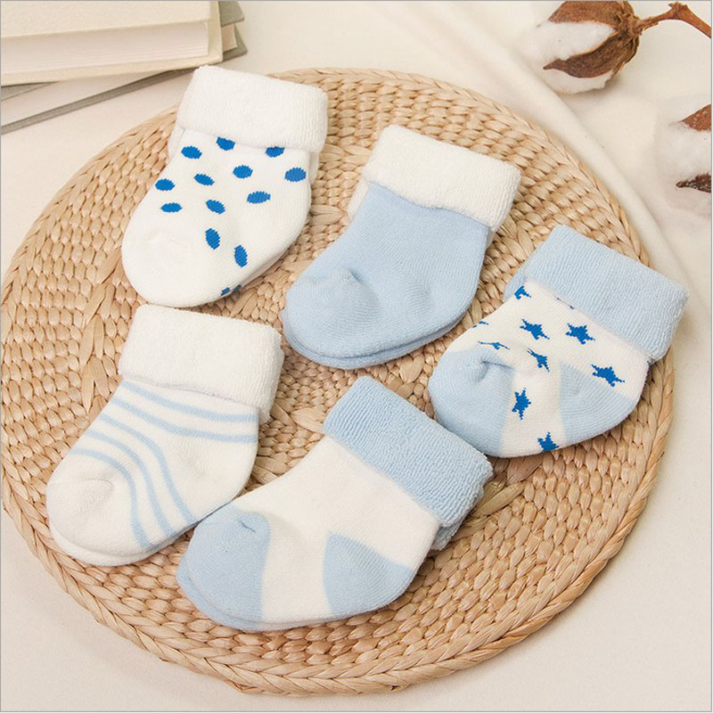 vivamom Brand 5 Pairs baby socks newborns Winter Cotton thickening  Unisex Short Socks 0-6 months infant girl and boy socks