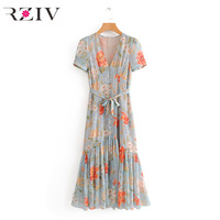 RZIV spring women dress casual flower print V neck long section of loose dress